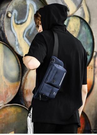 Крутая стильная мужская тканевая бананка, мужская поясная сумка черная
