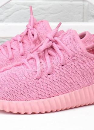 Кроссовки женские текстильные boost розовые на шнуровке3 фото