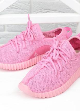 Кроссовки женские текстильные boost розовые на шнуровке5 фото