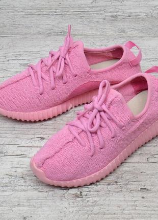 Кроссовки женские текстильные boost розовые на шнуровке6 фото