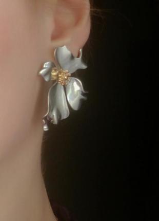 Серьги цветочки серебро сережки