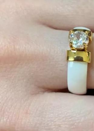Кольцо белое колечко золото керамическое