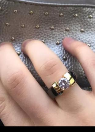 Кольцо керамика черное золото колечко керамическое