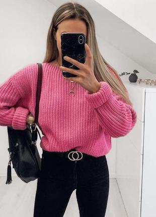 Яркий розовый свитер оверсайз new yorker