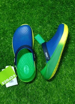 Сабо crocs literide clog graphic blue/green оригинал