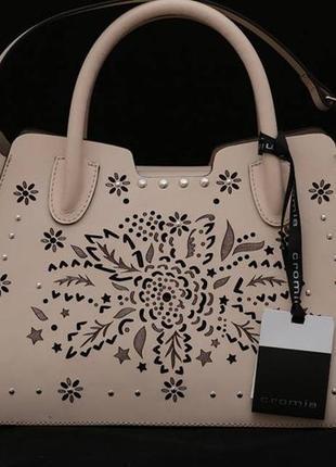 Сумка модного итальянского бренда cromia, пудрового цвета