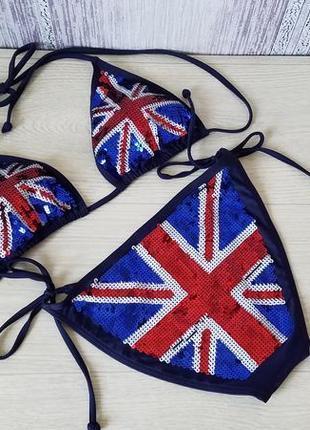 f06a72fbe055d Next купальник бикини, блестящий в пайетках. британский флаг. Next ...