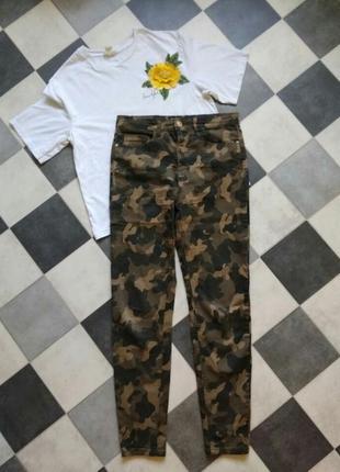 Камуфляжные джинсы брюки высокая посадка stradivarius3 фото