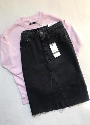 Джинсовая юбка спідниця чорна