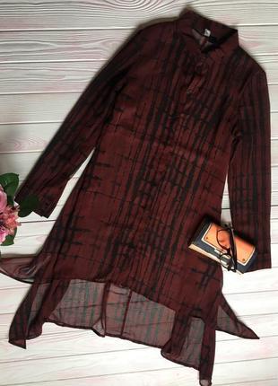 Удлиненая блуза рубашка оверсайз oversize прозрачная накидка кардиган монохромный принт