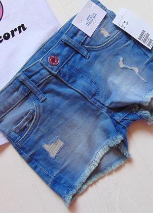 H&m. размер 2-3 года. новый летний комплект для девочки: футболка + джинсовые шорты6 фото
