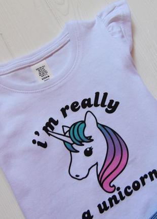 H&m. размер 2-3 года. новый летний комплект для девочки: футболка + джинсовые шорты3 фото