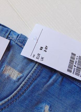 H&m. размер 2-3 года. новый летний комплект для девочки: футболка + джинсовые шорты8 фото