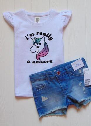 H&m. размер 2-3 года. новый летний комплект для девочки: футболка + джинсовые шорты