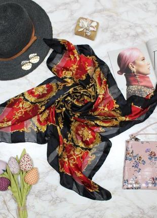 Обнова! платок косынка шарф черный красный золото принт
