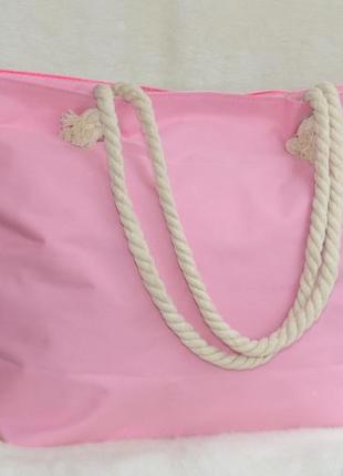 Золотистая пляжная сумка с канатными ручками радуга5 фото