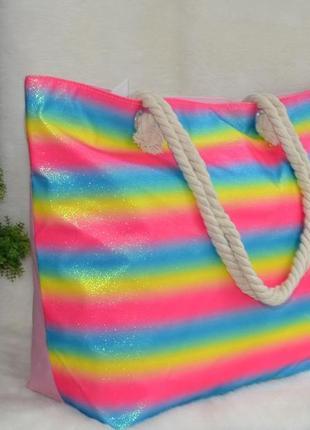 Золотистая пляжная сумка с канатными ручками радуга3 фото