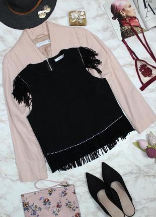 Обнова! топ  блуза  с бахромой из эко замши черный бренд качество mango
