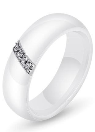 Кольцо керамическое женское белое с кристаллами код 1655