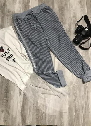 Стильные голубые котоновые штанишки .италия1 фото
