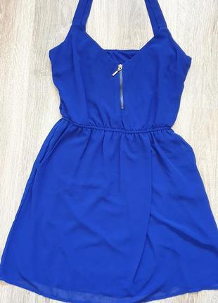 Шифоновое синее платье stradivarius.