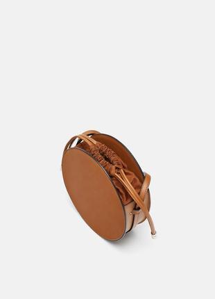 Коричневая сумка из комбинированных материалов zara оригинал
