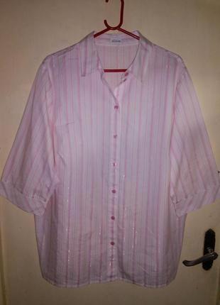 Женственная,нежная, блуза-рубашка на пуговицах,бол. gb 26 р,atelier creation,германия