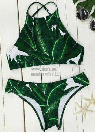 Купальник с тропическим принтом листья 🌴 танкини бикини лиф топ 💚