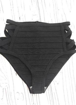 Бандажные трусики низ купальника с утяжкой  высокой талией и шнуровкой по бокам