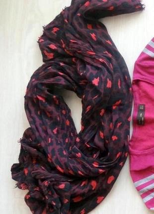 Женский шарфик бордовый с черным bershka сжатый хлопок