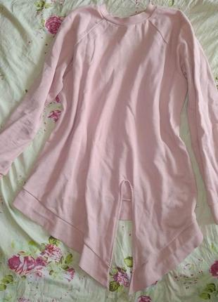 Утепленная домашняя одежда бледно-розовая туника next, р. 44-46 (м), свободный крой