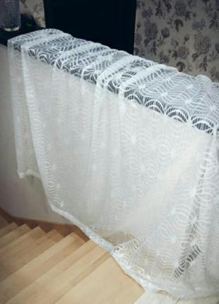 Короткая тюль в стиле прованс на узкой ленте в.168 см/ш.268 см