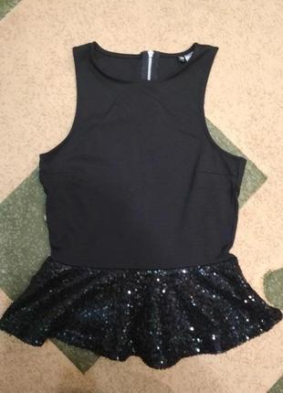 Шикарная блуза блузка безрукавка топ топик черная баска рубашка паетки  футболка майка