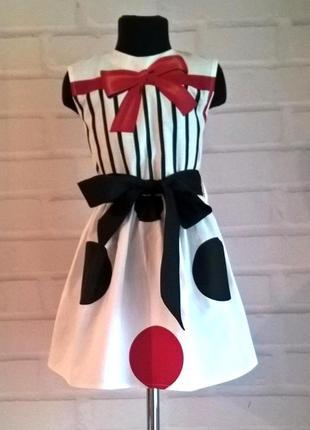Платье для девочки. платье детское. принт горох, 100% хлопок 110-140