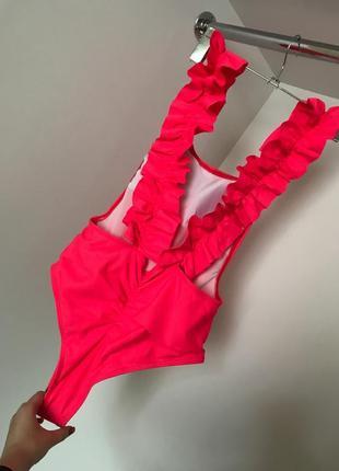 Яркий розовый неоновый слитный сдельный купальник рюши спинка бразильяна сборка 2021