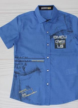 Хлопковая синяя рубашка, с коротким рукавом, турция