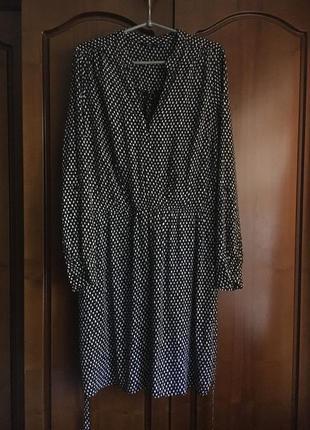 Платье рубашка с рукавом цвет чёрный в принт f&f