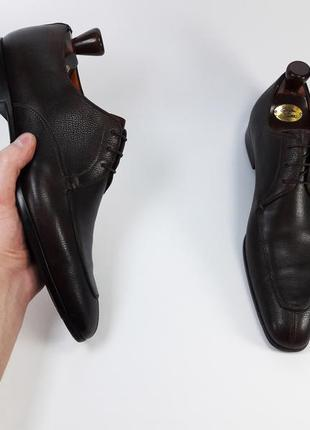 Santoni made in italy кожаные туфли броги оксфорды коричневого цвета размер 42