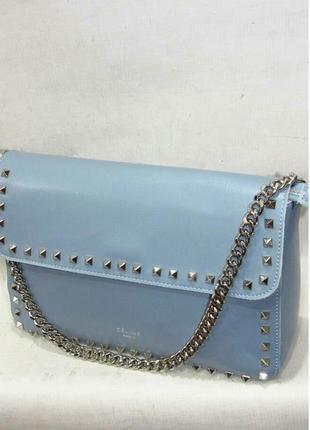 Голубая кожаная сумка небольшая женская стильная кросс боди натуральная кожа новая celine