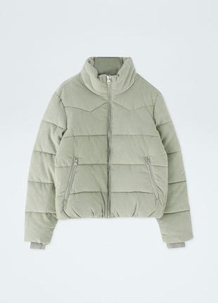 Куртка вельветовая стеганая мятного цвета pull and bear размер s