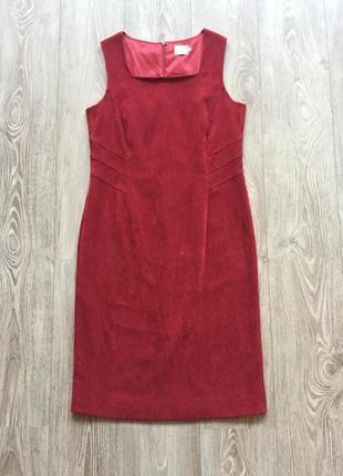 Красное бархатное платье-футляр, 38-40, классическое, деловое, офисное