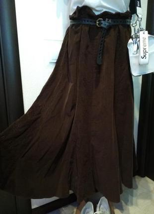 Шикарная юбка трапеция макси вельветовая коричневая большого размера брэндовая