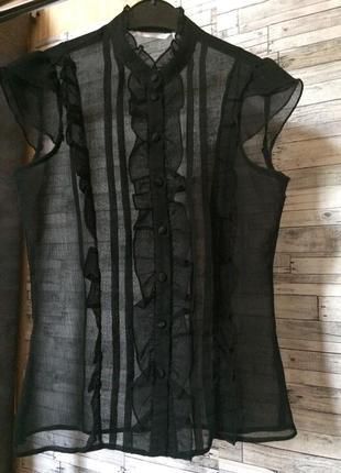 Прозрачная/ шифоновая/воротник стойка блуза new look5 фото