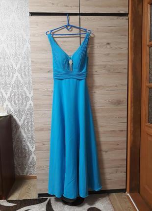 Продам замечательное выпускное платье голубого цвета в греческом стиле