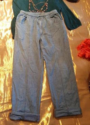 Летние котоновые штаны бананы с карманами damart xxl