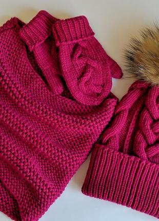 Комплект шапка нуд варежки из 100% мериносовой шерсти