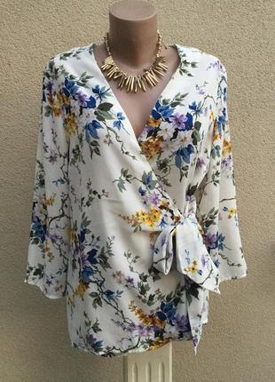 Красивая блуза,рубаха на запах в цветочный принт,большой размер