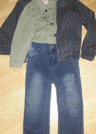 Костюм 3-ка. бомбер, рубашка и джинсы. на 2-3 года.