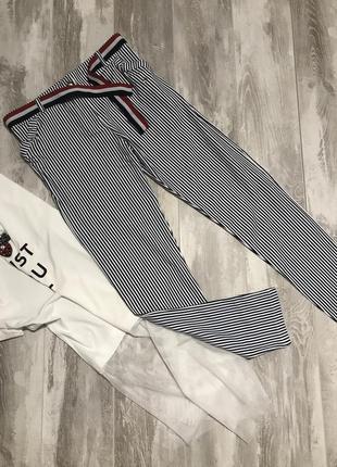 Трикотажные штанишки в синюю полоску