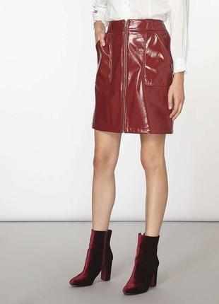 Лаковая виниловая мини юбка с молнией эко кожа плюс сайз батал большой размер